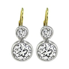 2.19cttw Diamond Platinum and Gold Earrings
