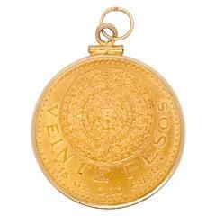 21K Veinte Pesos Gold Coin, 20 Pesos Mexico Coin, 14K Gold Coin Bezel Pendant