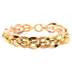 21 Karat Yellow Gold Indian Style Textured Circle Link Bracelet