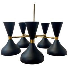 21st C. Contemporary Black, Gold & White Five Light Chandelier