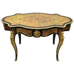 21st C Napoleon III French Inlaid Brass Bronze Boulle Turtle Top Center Table
