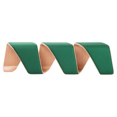 21st Centur Green 3 Seater Oakwood Bench in Helix Shape DNA Made in Italy