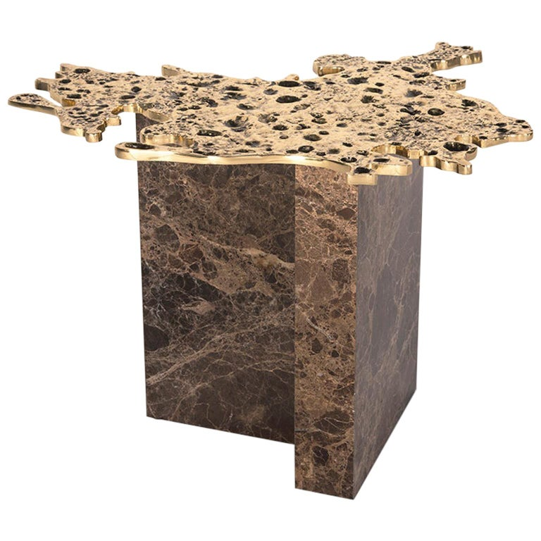 21st Century 1-3 Side Table, Polished Patinated Brass Cast and Brown Marble For Sale