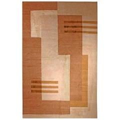 21st Century 11A Tibetan Art Deco Design Rug in Shades of Beige and Brown