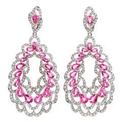 21st Century 16.48 Carats Pink Sapphire Diamond 18k Gold Floral Dangle Earrings