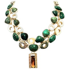 21st Century 925 Sterling Silver & Topaz Choker Style Necklace - Mexico