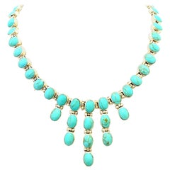 21st Century 950 Sterling Silver & Turquoise Link Necklace-Mexico