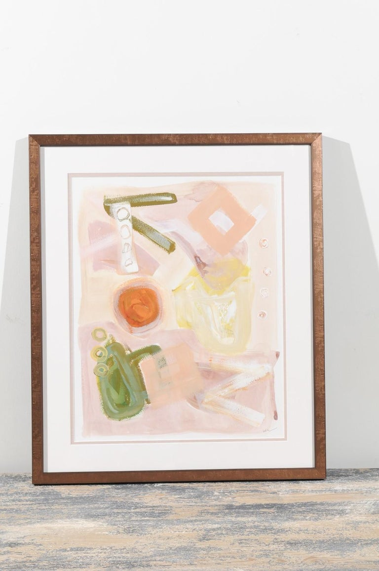 Opposites attract by Brittany McGraw. Measures: 16 x 20 acrylic abstract. Original painting on cold pressed watercolor paper. Linen double-mat framing. Soft spring palette with playful, muted geometric shapes.