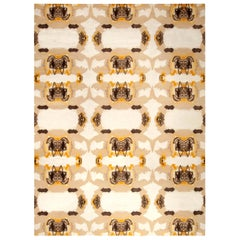 21st Century Abstract Eskayel-Culebra Rug in Beige, Brown and Yellow