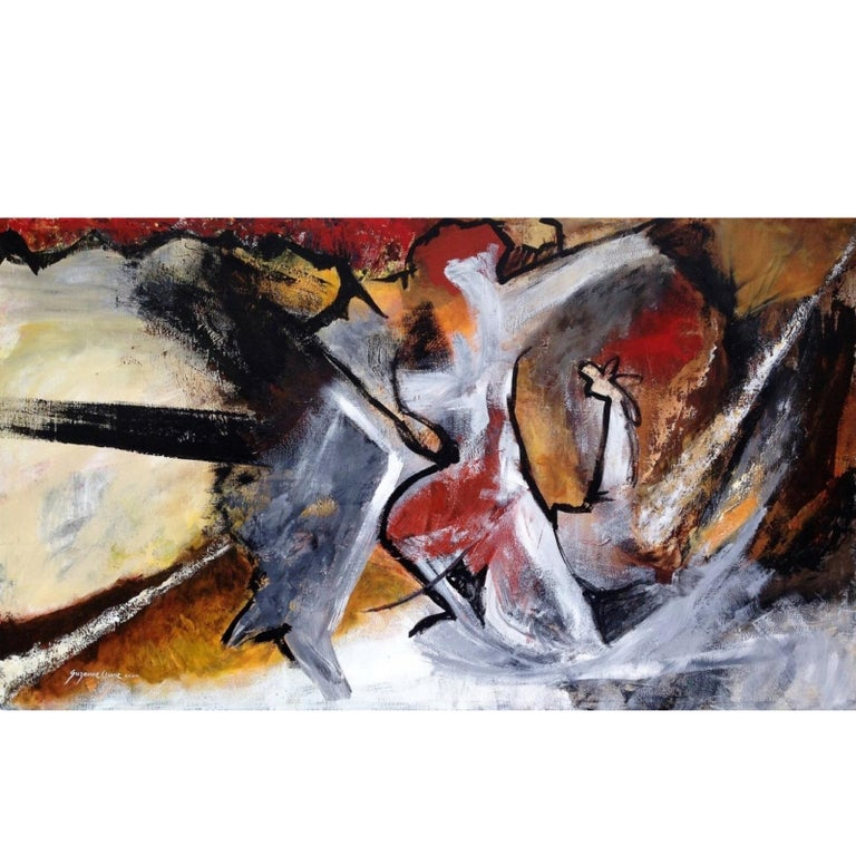 "21st Century Abstract Painting on Canvas, Suzanne Clune ""Figures"" For Sale"
