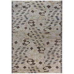 21st Century Abstract Rug Beige, Blue and Brown Handwoven Wool Rug