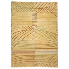 21st Century Abstract Scandinavian Inspired Tibetan Rug in Yellow, Green & Brown