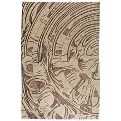 21st Century Abstract Warm Beige and Brown Handmade Silk Rug