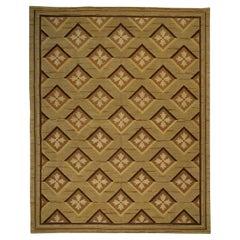 21st Century Abusson Geometric Warm Beige and Brown Wool Matthew P Smyth Rug