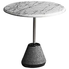 21st Century A.Castiglioni Ipaz 4 White/Black Marble and Steel Low Round Table