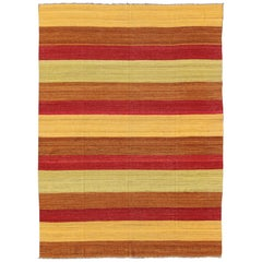 21st Century Multi Colored Stripe Design Kilim in Red, Brown, Yellow and Lime
