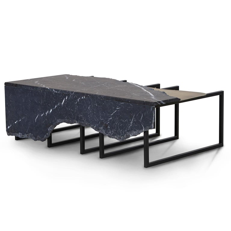 Modern Aire Coffee Table M Nero Marquina Marble Dark Oxidised Brass Black Lacquered For Sale