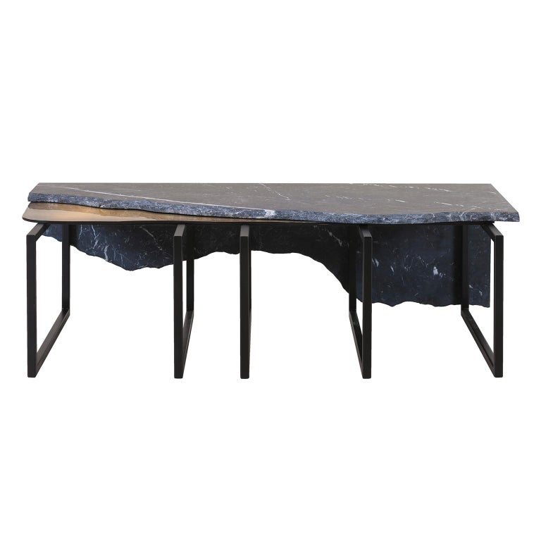 Portuguese Aire Coffee Table M Nero Marquina Marble Dark Oxidised Brass Black Lacquered For Sale