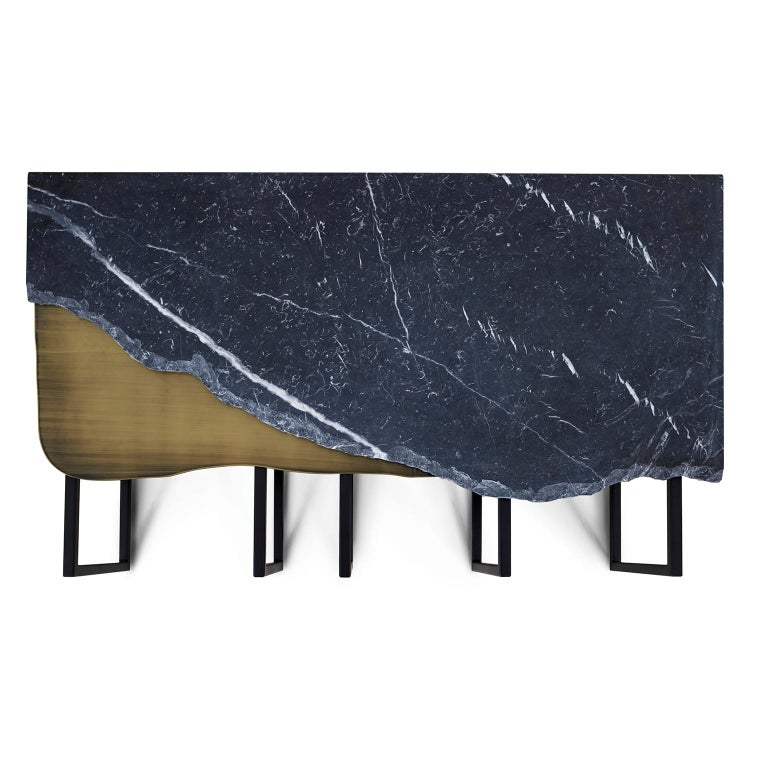 Aire Coffee Table M Nero Marquina Marble Dark Oxidised Brass Black Lacquered In New Condition For Sale In Cartaxo, PT