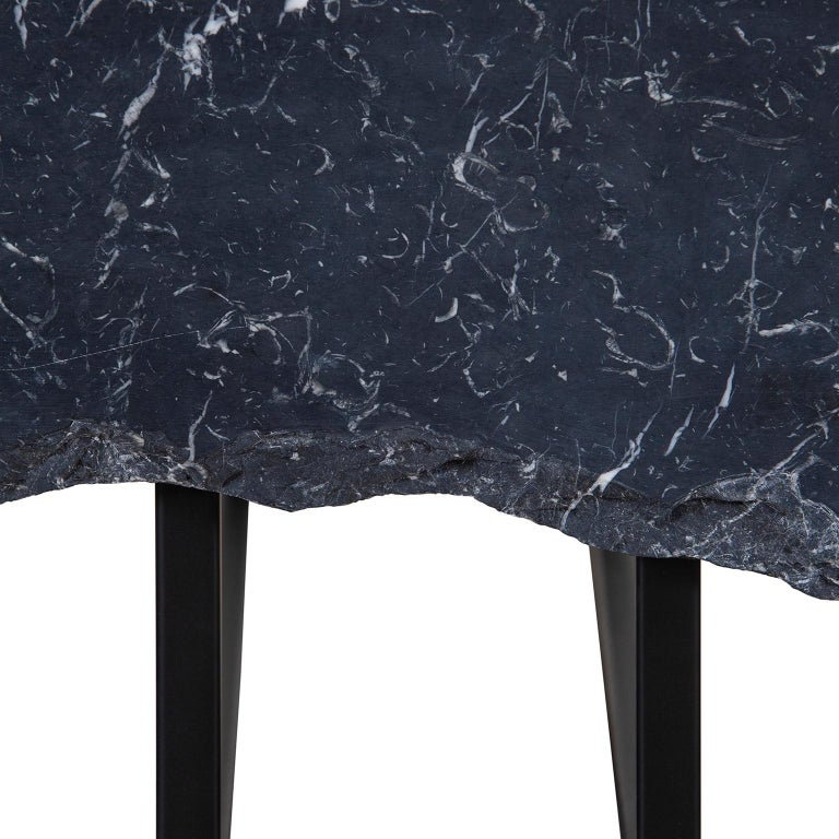 Contemporary Aire Coffee Table M Nero Marquina Marble Dark Oxidised Brass Black Lacquered For Sale
