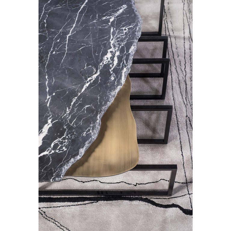 21st Century Aire Coffee Table M Nero Marquina Marble Dark Oxidised Brass For Sale 2