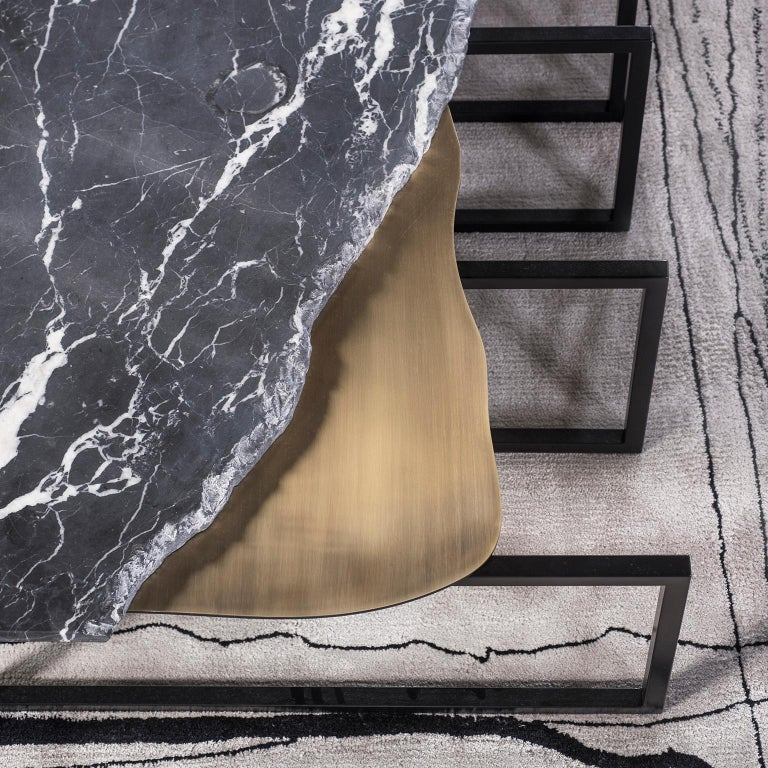 Aire Coffee Table M Nero Marquina Marble Dark Oxidised Brass Black Lacquered For Sale 3