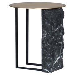 21st Century Aire Side Table M Nero Marquina Black Oxidized Brass