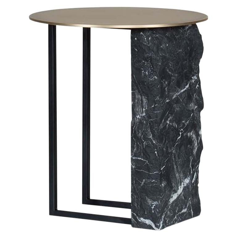 Aire Side Table M Nero Marquina Marble Oxidized Brass Black Lacquered For Sale