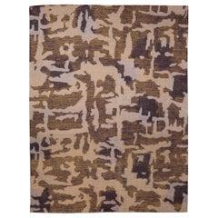 21st Century AK2 Brown and Beige Handmade Wool Rug