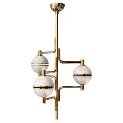 21st Century Alabaster Andros Suspension Lamp Brass by Creativemary