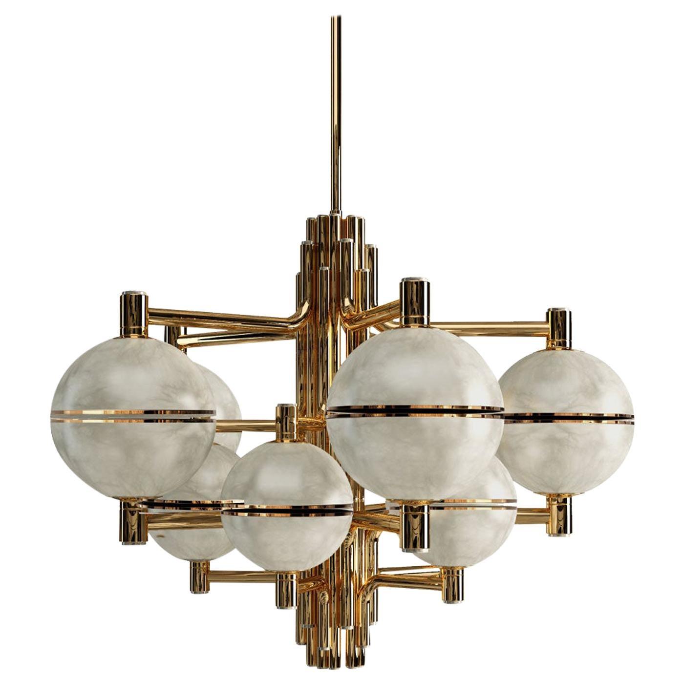 21st Century Alabaster Andros Suspension Lamp Brass