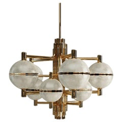 21st Century Alabaster Andros Suspension Lamp Brass