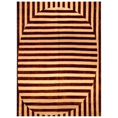 21st Century Alberto Pinto Rug in Beige and Brown Stripes