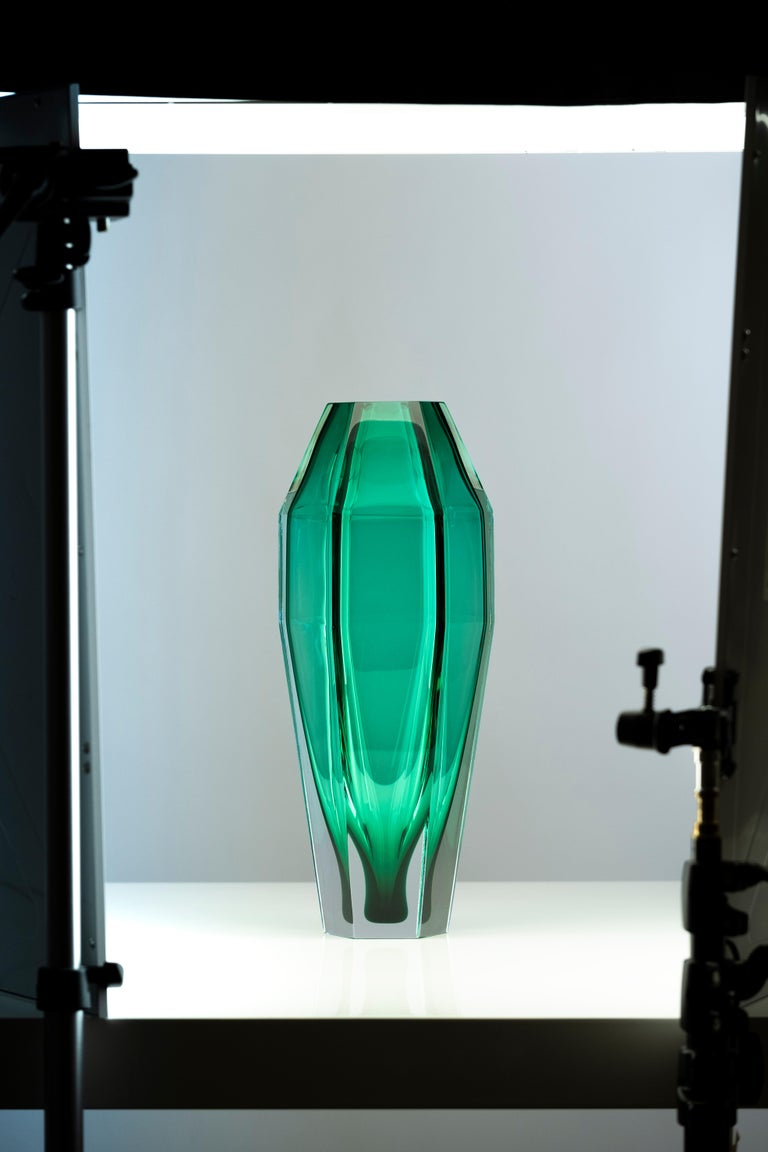 Italian 21st Century Alessandro Mendini Murano Transparent Glass Vase Various Colors For Sale