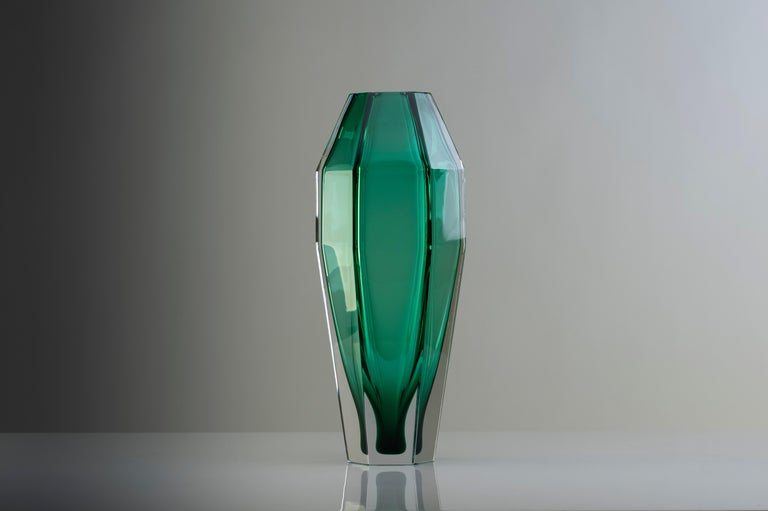 21st Century Alessandro Mendini Murano Transparent Glass Vase Various Colors In New Condition For Sale In Brembate di Sopra (BG), IT