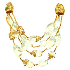 21st Century Alexis Bittar Lucite Jeweled Gold Plate Multi Strand Necklace