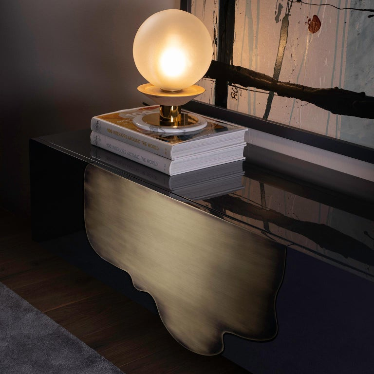 Alma Console Blue-Grey Black Lacquered Dark Oxidized Brass One Leg Wall Mounted For Sale 3