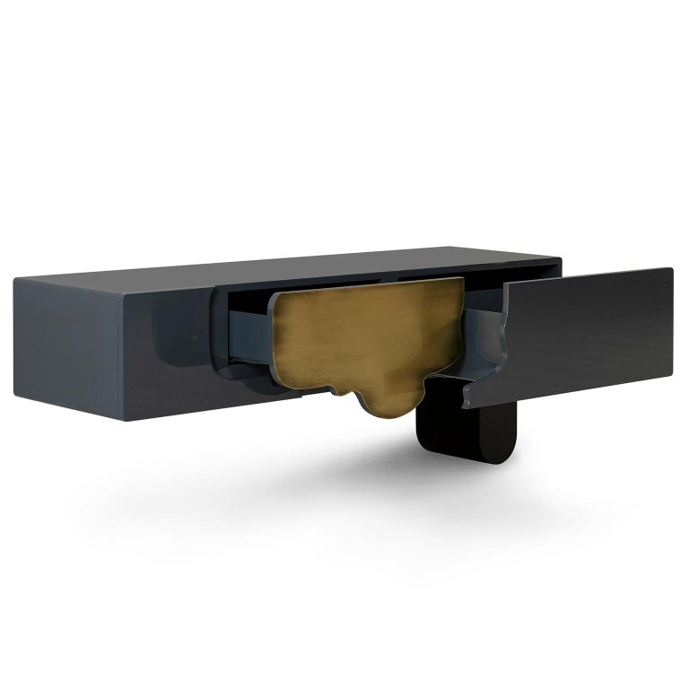 Portuguese Alma Console Blue-Grey Black Lacquered Dark Oxidized Brass One Leg Wall Mounted For Sale
