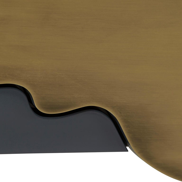 Alma Console Blue-Grey Black Lacquered Dark Oxidized Brass One Leg Wall Mounted In New Condition For Sale In Cartaxo, PT