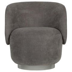 21st Century Alma Swivel Armchair Grey Textured Fabric Brushed Stainless Steel