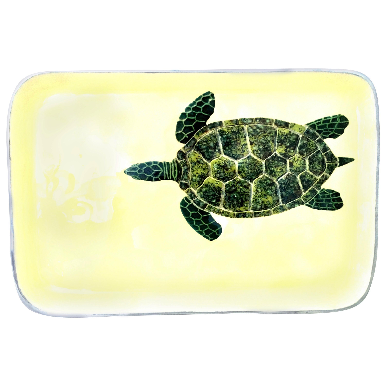 21st Century Aluminum and Enamel Rectangular Turtle Tray