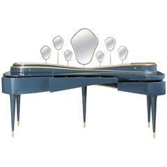 21st Century Amélie Dressing Table Lacquered Wood Gold Leaf Polished Brass