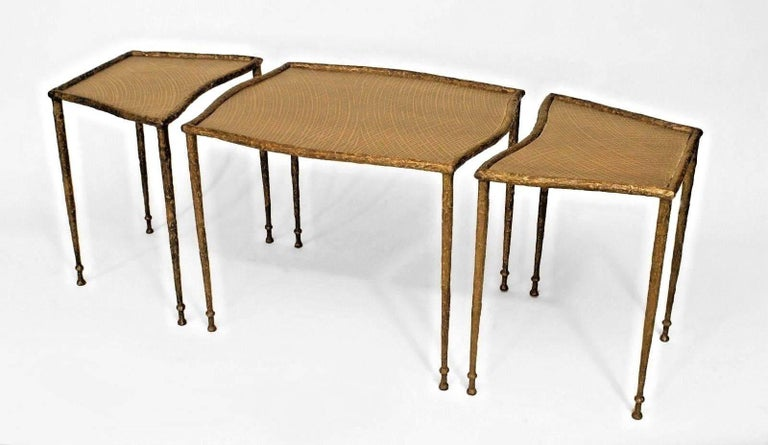 Contemporary American three section coffee table by Carole Gratale. The table is composed of patinated bronze, and each section rests upon four legs and features detailed inset bronze top. 