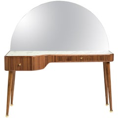 21st Century American Walnut Veneer Vanity Desk with Mirror and Carrara Marble