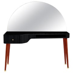 21st Century American Walnut Veneer Vanity Desk with Mirror, Black and Red