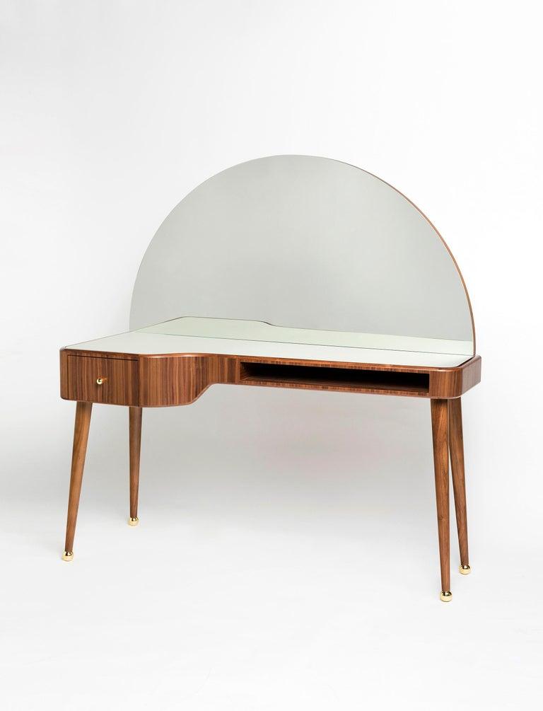 Arts and Crafts 21st Century American Walnut Veneer Vanity Desk with Mirror For Sale