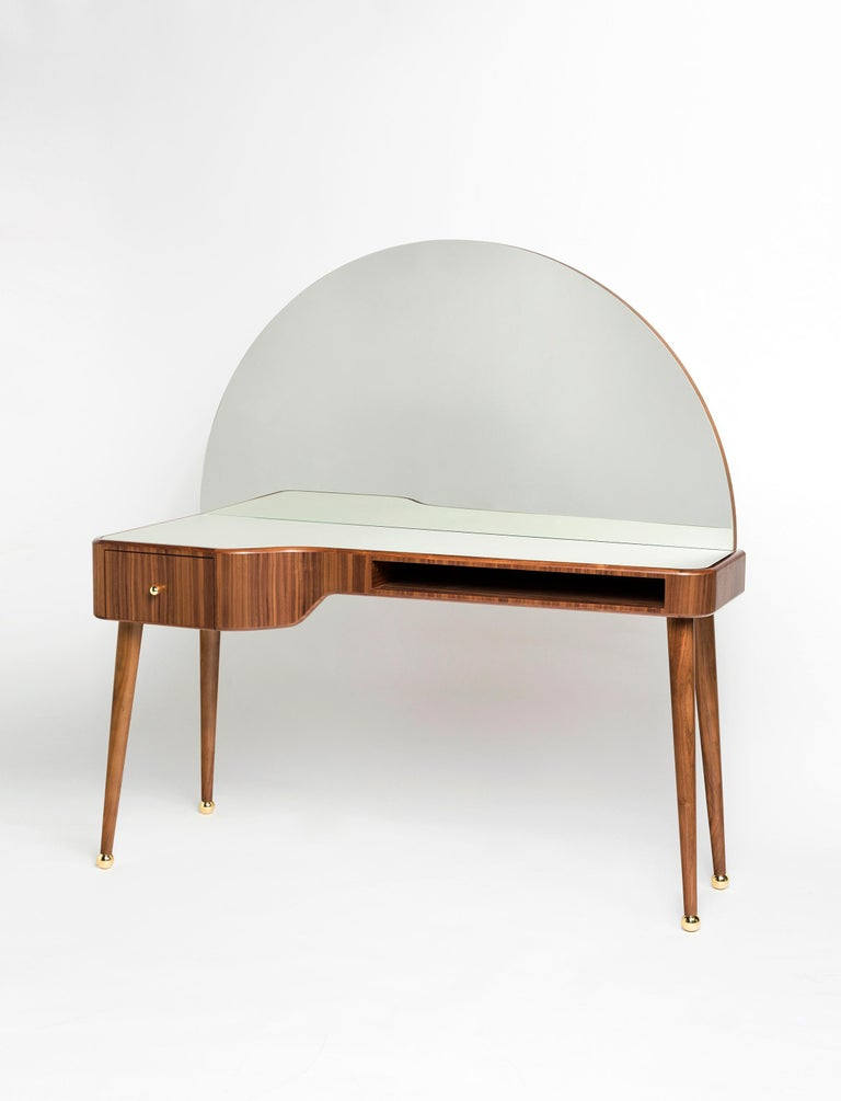 Arts and Crafts 21st Century American Walnut Veneer Vanity Desk with Mirror For Sale