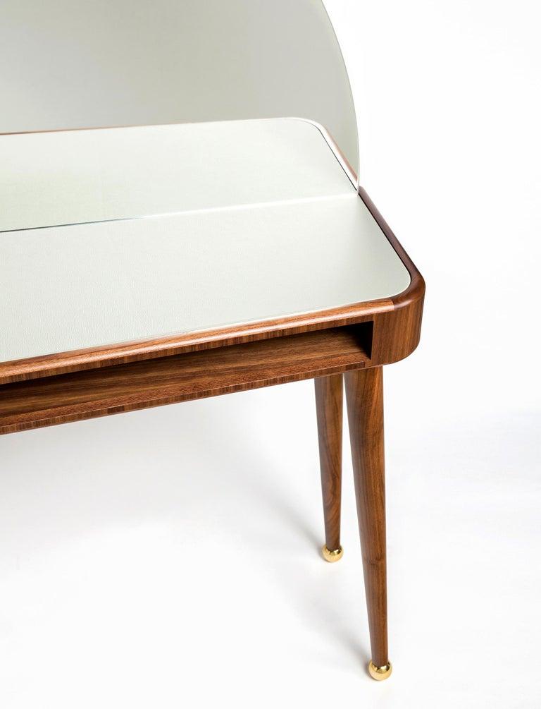 Contemporary 21st Century American Walnut Veneer Vanity Desk with Mirror For Sale
