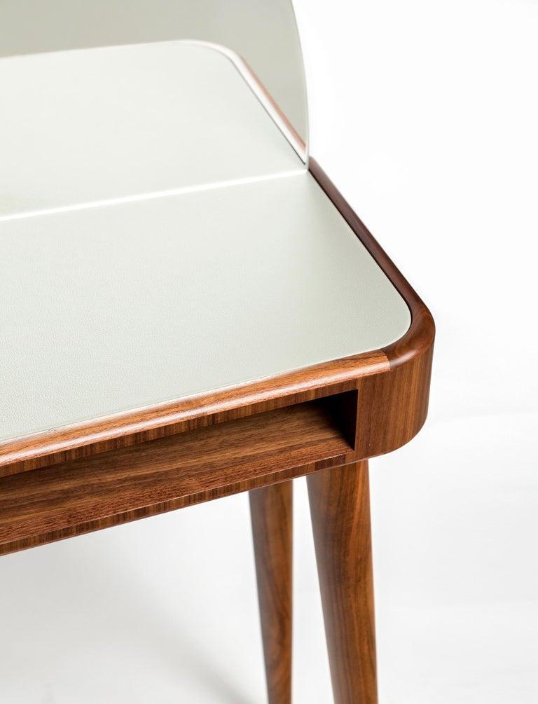 Wood 21st Century American Walnut Veneer Vanity Desk with Mirror For Sale