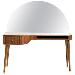 21st Century American Walnut Veneer Vanity Desk with Mirror